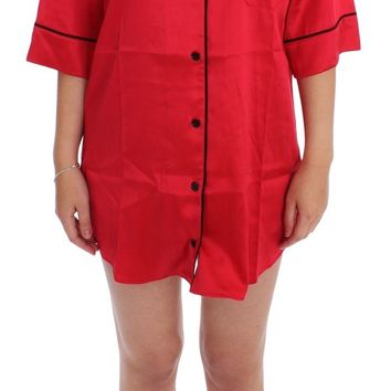 Red Silk Stretch Oversize Sleepwear Shirt