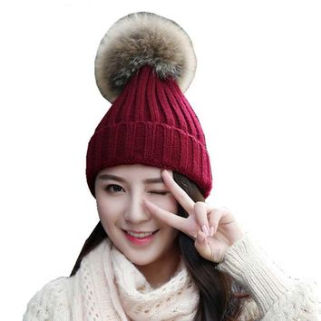 Rabbit Fur Winter Hats For Women Beanie Pom Pom Hat Knitted Wool Warm Caps Casual Crochet Knit Female Skullies Beanies Cap