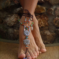reserved for a bride BAREFOOT BOHEMIAN WEDDING barefoot sandals Anklets crochet Sandals sole less shoes crochet anklets antique flowers