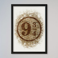 Harry Potter Poster Platform 9 3/4 Watercolor Art Print Hogwarts Express Platform Nine and Three-Quarters