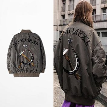 Autumn lovers street Japanese retro loose coat tide male new embroidery jacket couple men and women