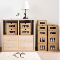 Drawer Type Kraft Shoes Collection Moving Box Transparent Shoes Box Storage Case