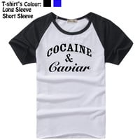 Cocaine And Caviar Crooks and Castles LIL Wayne Design Pattern Long Short Sleeves T-Shirt Men's Boy's Tops Black or Blue Sleeves msc