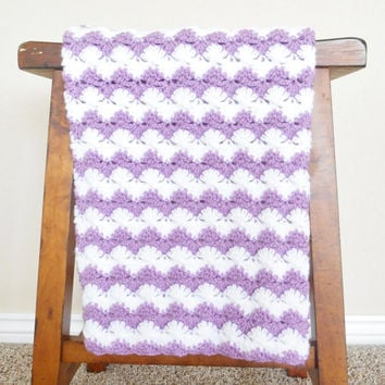 Crochet Baby Blanket for Girls - Baby Shower Gift - Crochet Stroller Afghan - Purple Baby Blanket - Crochet Baby Afghan - Girls Crib Blanket