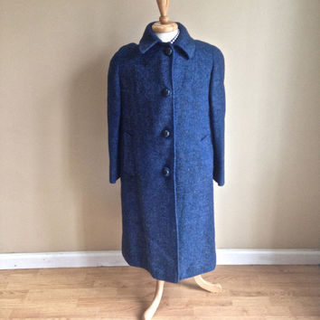 Vintage 1960s Women's Hipster Wool Coat - Blue Flecked Harris Tweed - Large
