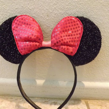 Minnie Mouse Ears Headband Black Sparkle Hot Pink Sequin big Bow  Mickey Mouse Ears, Disneyland, Disney World, Holiday Mouse Ears