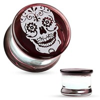 BodyJ4You Plugs Glass Saddle Sugar Skull Engraved Earrings Stretching Set 0G 8mm Body Piercing Jewelry