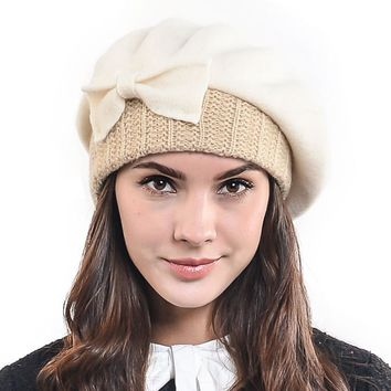 HISSHE Warm Women Winter 100% Wool Beret Classic Female Knit French Beret Hat Lady Bow Cloche Hat Chic Beanie Cap