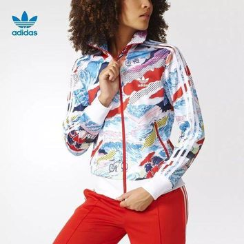 Women¡¯s Adidas Print Sport Running Long Sleeve Cardigan Jacket Coat Windbreaker