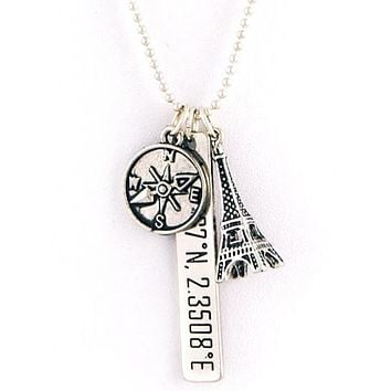 SALE!  Paris France Eiffel Tower Compass Geo Coordinate Necklace Pendant