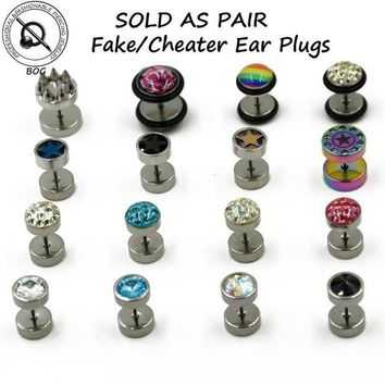 ac DCCKO2Q BOG-1 Pair Surgical Steel Cheater Faux Fake Stud Earring Ear Tunnel Plugs Gauges Piercing Body Jewelry  16g