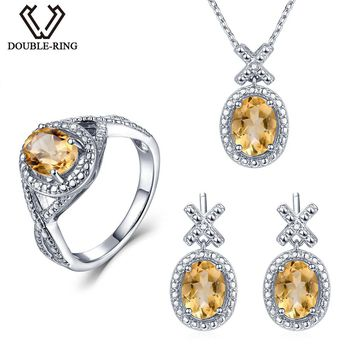 Double-R Natural Diamond Bridal Jewelry Sets Women 4.1 ct Real Citrine Ring earring Pendant Necklace 925 Silver Wedding Jewelry