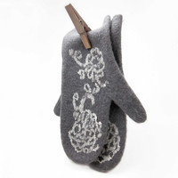 Felted gloves- felt mittens - natural wool mittens - OOAK - unique grey white handmade gloves -Christmas gift