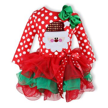 2017 Christmas Dresses Baby Girls Dress Snowman Santa Deer Dot Dress Red Christmas Party Costume Children Clothes Kids Gifts