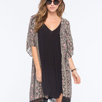 Full Tilt Boho Fringe Womens Kimono Multi  In Sizes