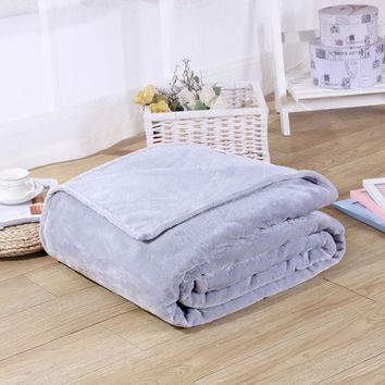 High Quality Sofa Plaid Flannel Coral Fleece Blanket Solid plain color Mink Throw Soft Baby Blankets On The Bed