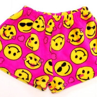 Confetti and Friends Girl's Fuzzy Shorts Pink Emoji