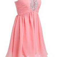 Fashion Plaza Chiffon Strapless Sexy Crystal Ruffles Cocktail Party Dress D0140 (US4, Honey Peach)