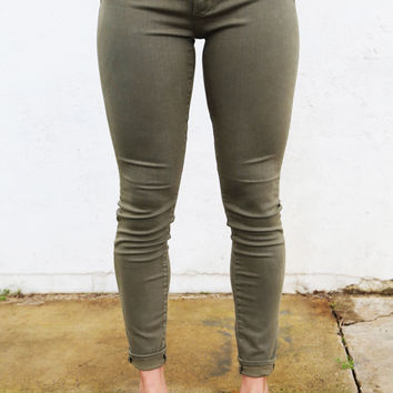 Army Green Basic Skinnies