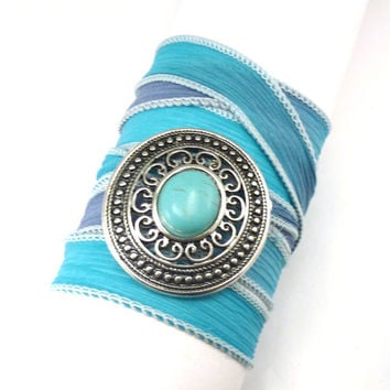 Southwestern Silk Wrap Bracelet  by charmeddesign1012 on Etsy