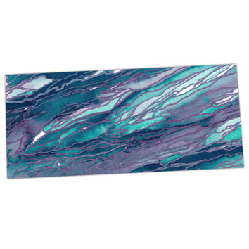 "Ebi Emporium ""Agate Magic - Lilac Teal"" Blue Lavender Desk Mat"