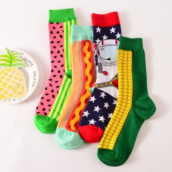 creative Fruits Hit Color socks men School Snow Man Pure Cotton Motion Street Long In Canister  bamboo socks 4pairs/lot