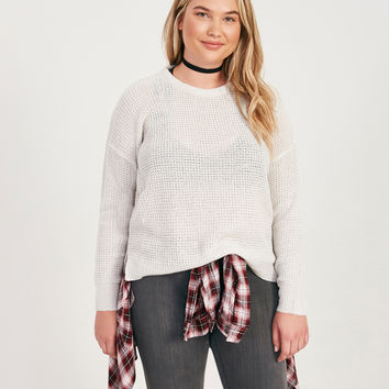 Plus Size Waffle Knit Sweater | Wet Seal Plus