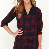 Olive & Oak Afternoon Delight Wine Red Plaid Shirt Dress
