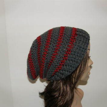Everyday Extra Slouch Hat  Gray and Red stripes