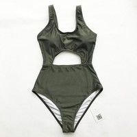 Shape Of My Heart Solid One-piece Swimsuit