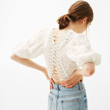 Cropped blouse with swiss embroidery - New - Bershka United Kingdom