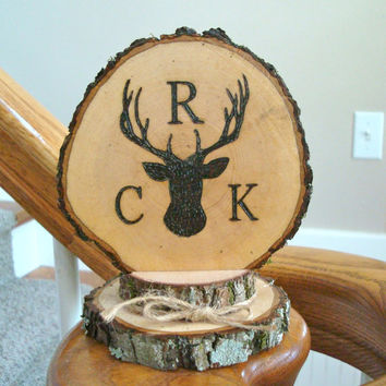 Wedding Cake Topper Rustic Deer Monogram Hunting Country Woodland