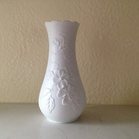 Mid Century Modern Kaiser of West Germany Bisquit Vase with Flowers 652 2