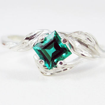 Emerald Princess Leaf Ring Sterling Silver, May Birthstone Ring, Emerald Square Ring, Emerald Princess Cut Ring, Sterling Silver Leaf Ring