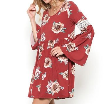 Floral Long Bell Sleeve Mini Dress - Marsala