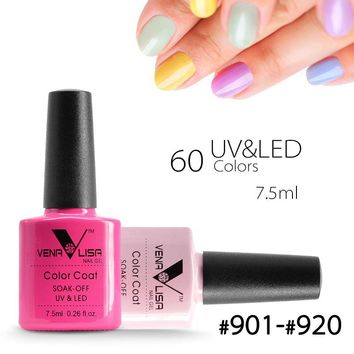 #61508 2018 New Brand Venalisa Nail Art 60 Color 7.5 ML Soak Off UV Gel Nail Polish UV Nail Varnish for Nail Art Design Polish