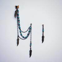 turquoise and feather ear cuff earrings, ear cuff with chains, tribal ear cuff, feather ear cuff, turquoise earrings