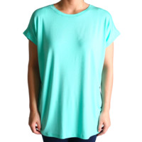 Lucite Green Rolled Sleeve Piko Short Sleeve Top