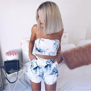 Strapless Print Crop Tops Suits High Waisted Shorts Sexy Two Piece Set