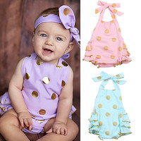Baby Girl Bodysuit Romper Jumpsuit Polka Dot Backless Sunsuit Outfits Clothes US
