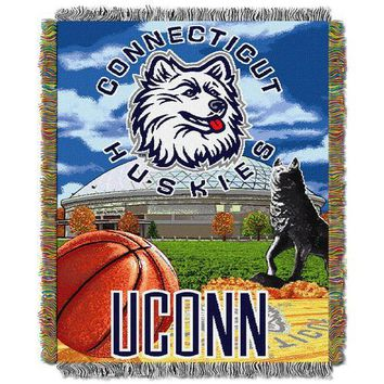 """Connecticut Huskies NCAA Woven Tapestry Throw (Home Field Advantage) (48x60"""")"""""""