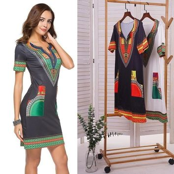Women Summer Bodycon Dress  Sexy Casual Sundress Party Plus Size  Vintage African Print Dashiki Dresses