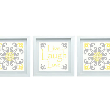 Live Laugh Love Decor Modern Flower Print Flourish Design Custom Yellow Gray Set of 3-10X10 Prints Wall Art, Bedroom Bathroom Home Decor