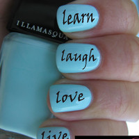 Live Laugh Love Learn Nail art transfer water wrap