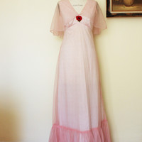 Vintage 1940s Full Length Party Dress, Red and White Polkadots