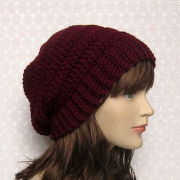 Wine Slouchy Crochet Hat - Womens Slouch Beanie - Ladies Oversized Ribbed Cap - Chunky Hat