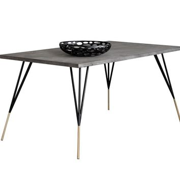 MINDY BRUSHED ANTIQUE BRASS FEET WITH SEALED CONCRETE TOP RECTANGULAR DINING TABLE