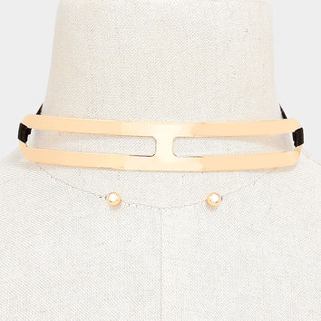 "6"" gold curved choker bib collar ribbon tie necklace .20"" earrings 1.75"" width"