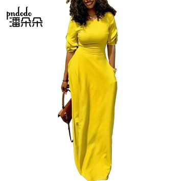 Pndodo Women Flare Sleeve Long Maxi Dress with Pocket Floor Length Casual Dress Elegant Daily Festival Evening Loose Fit Dress