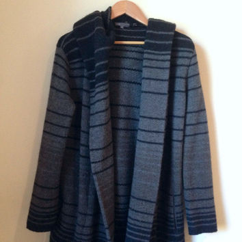 Vince Sophie Striped Sweater Coat In Gray